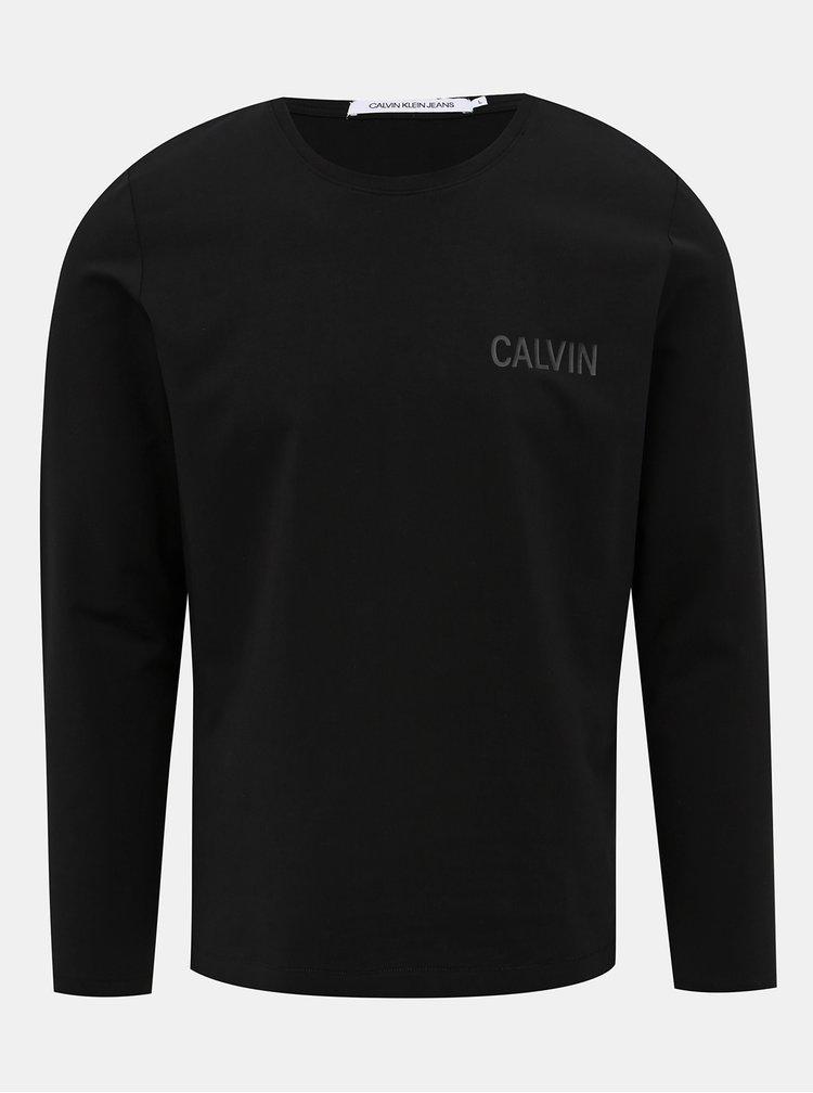 Černé pánské tričko s dlouhým rukávem Calvin Klein Jeans