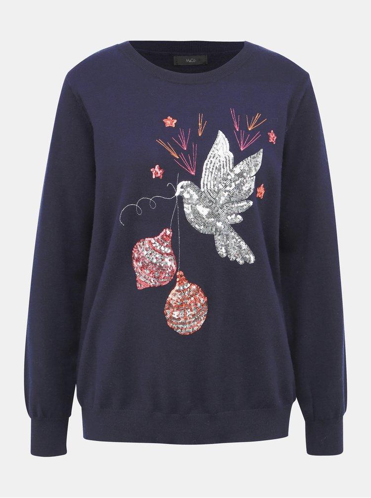 Tmavě modrý svetr s vánočním motivem M&Co
