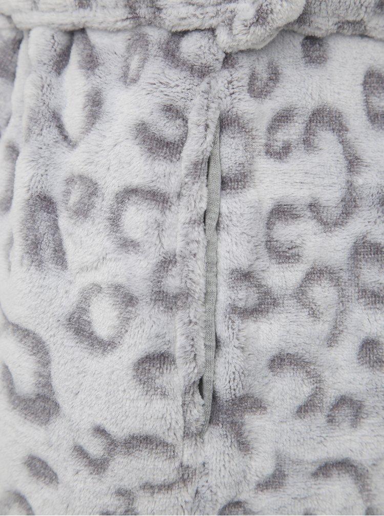 Šedý župan s leopardím vzorom M&Co