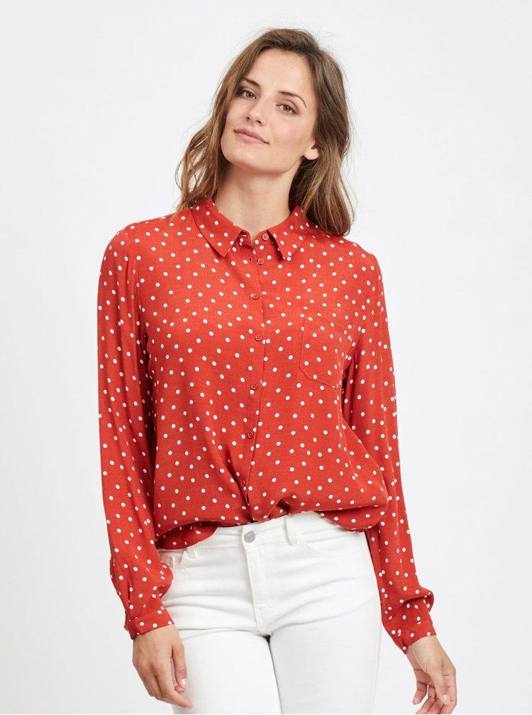 Červená puntíkovaná košile VILA Sulola
