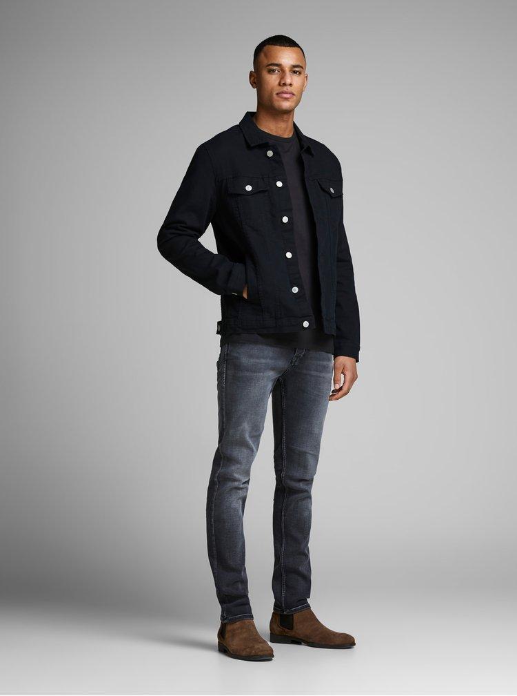 Čierne basic tričko s dlhým rukávom Jack & Jones