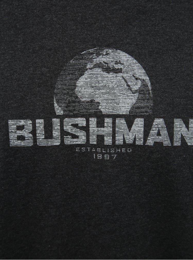Tmavě šedé pánské tričko s potiskem BUSHMAN Greeley