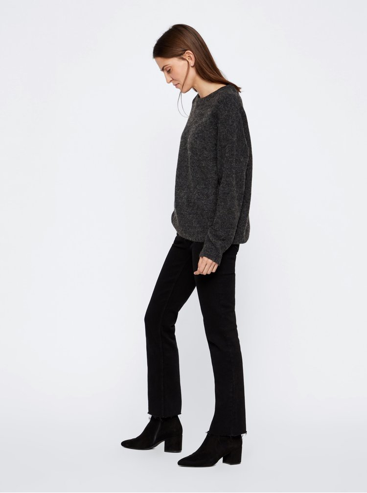 Tmavošedý basic sveter s prímesou vlny VERO MODA Blakely