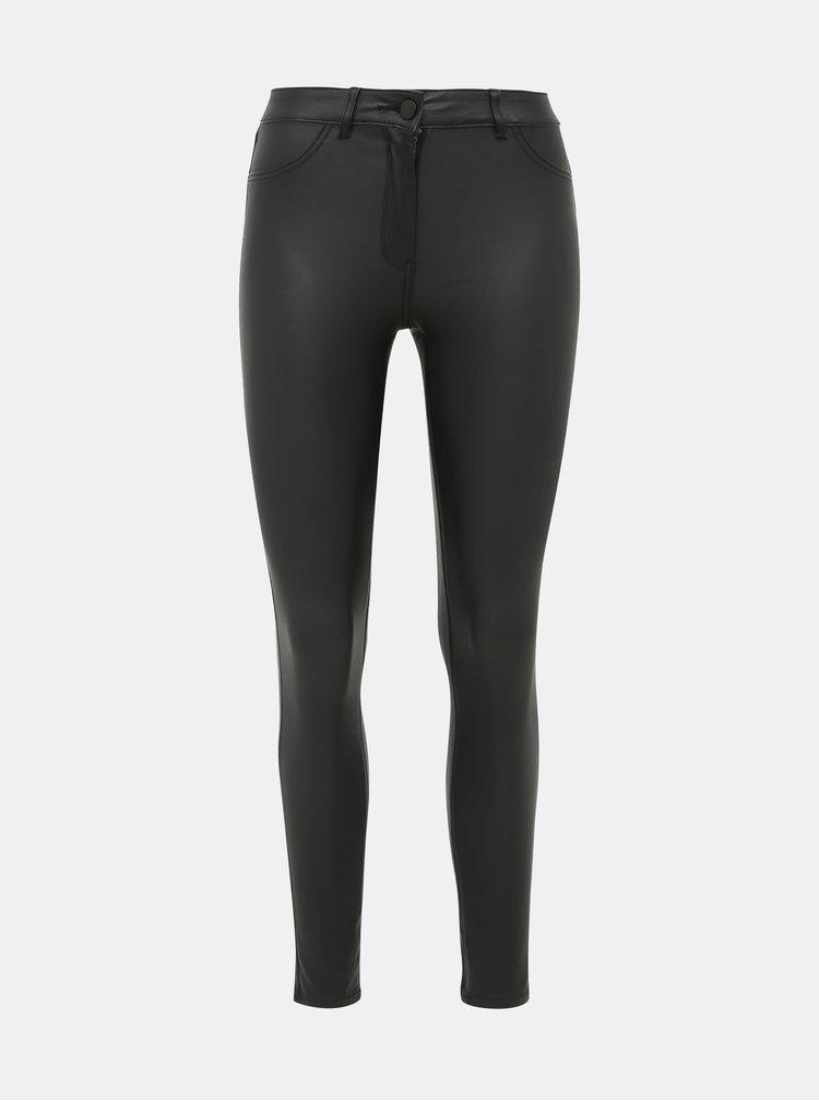 Černé koženkové skinny fit kalhoty M&Co