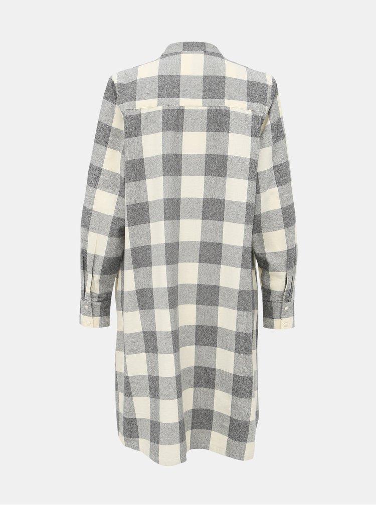 Svetlošedé košeľové kockované šaty Selected Femme Fally