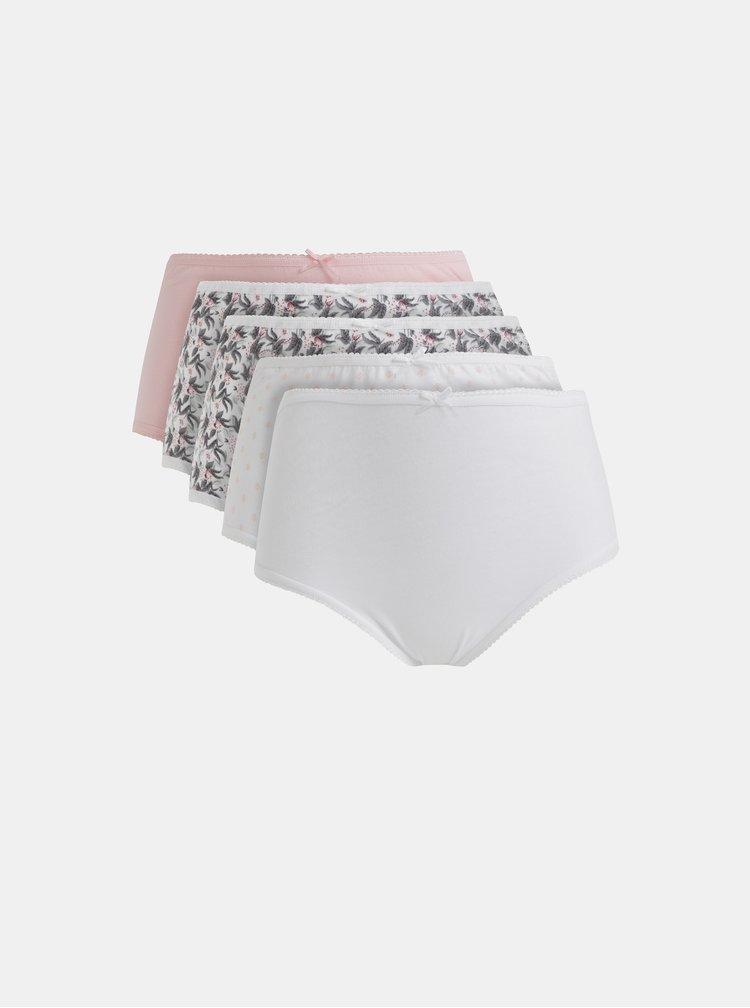 Sada pěti kalhotek s vysokým pasem v růžové a bílé barvě M&Co