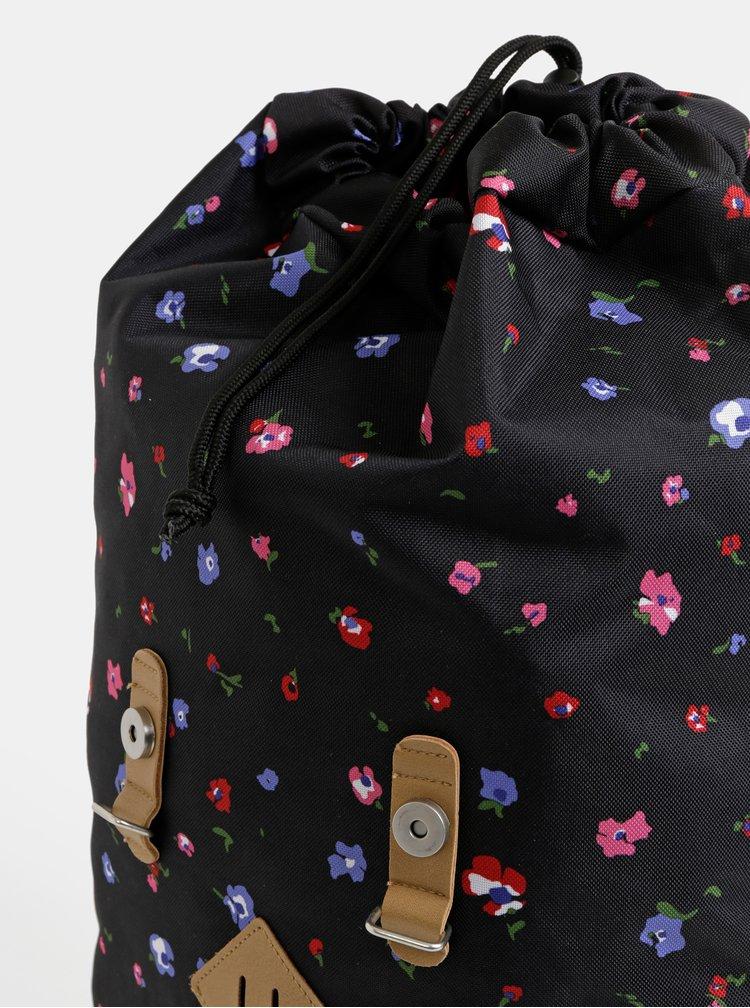 Černý dámský květovaný batoh The Pack Society