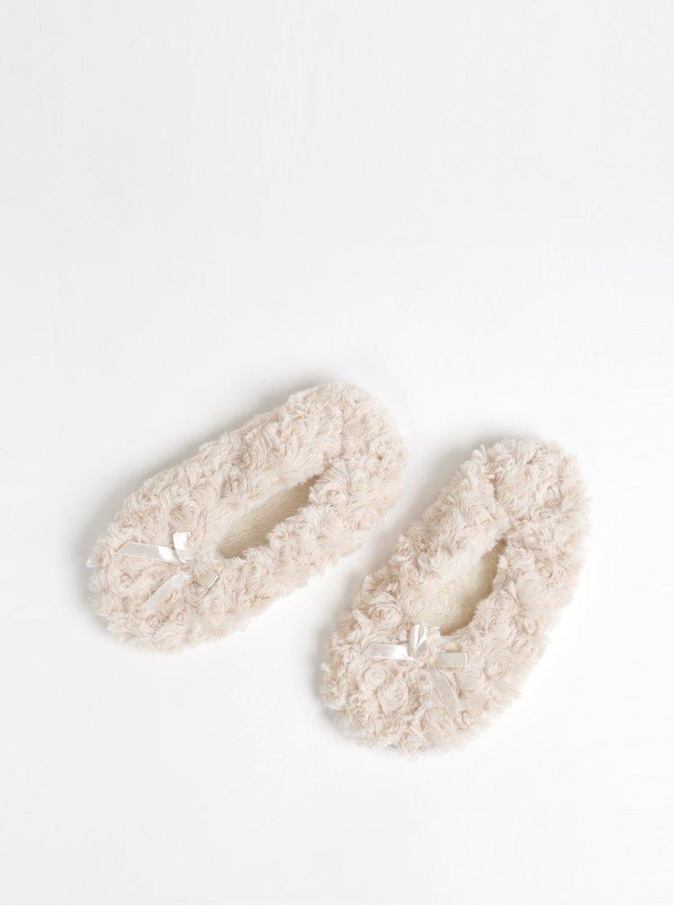 Krémové papuče z umělé kožešiny M&Co