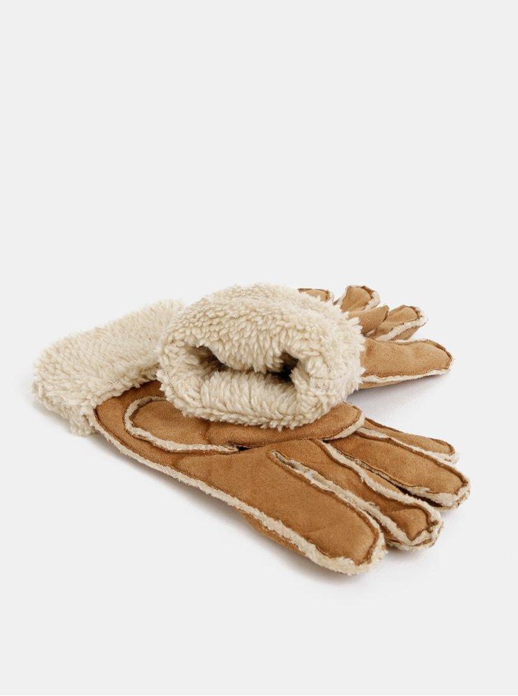 Hnědé rukavice v semišové úpravě s umělým kožíškem M&Co