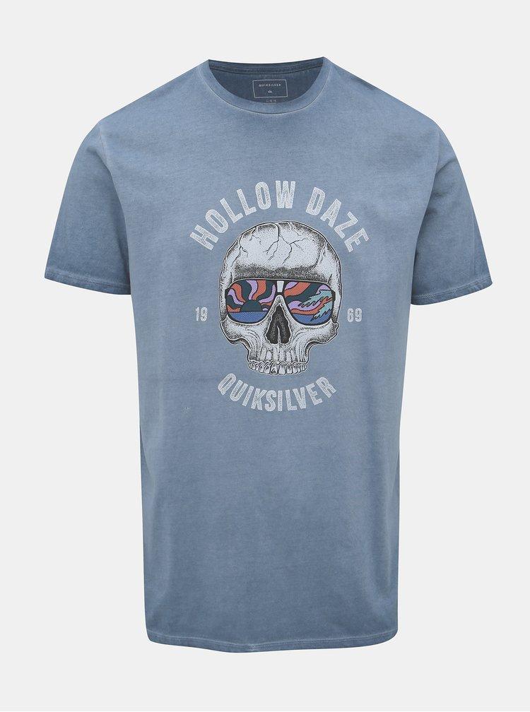 Světle modré tričko s potiskem Quiksilver Hollowday