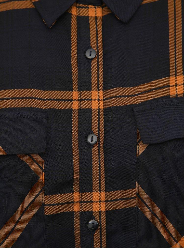 Hnědé kostkované košilové maxišaty Jacqueline de Yong