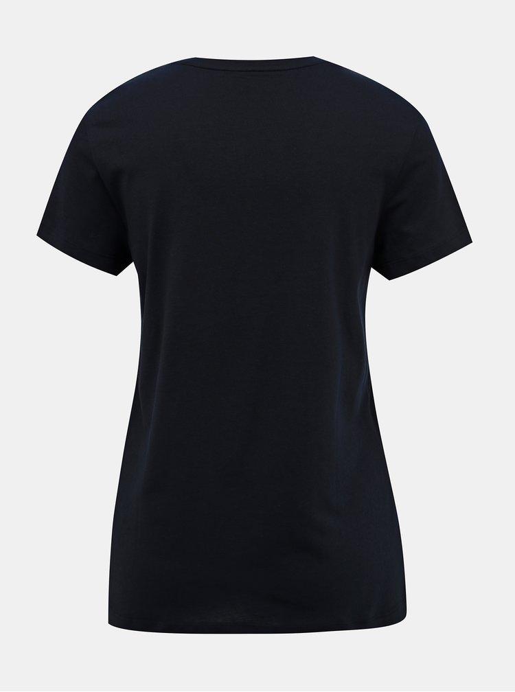 Tmavě modré dámské basic tričko Tommy Hilfiger Heritage