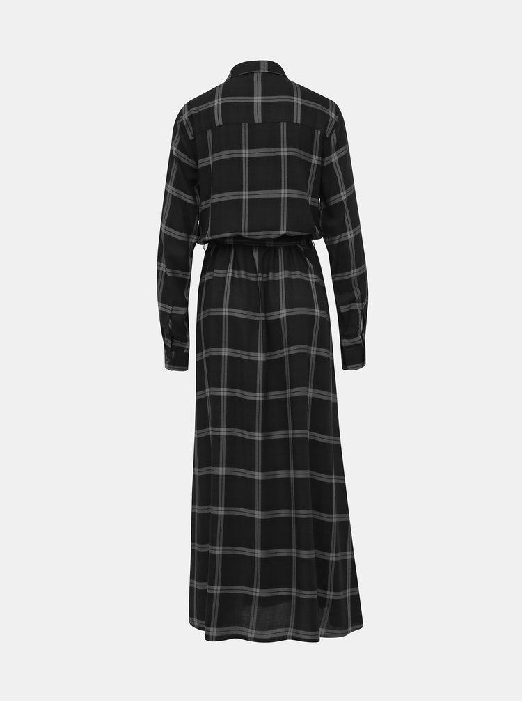 Čierne kockované košeľové maxišaty Jacqueline de Yong