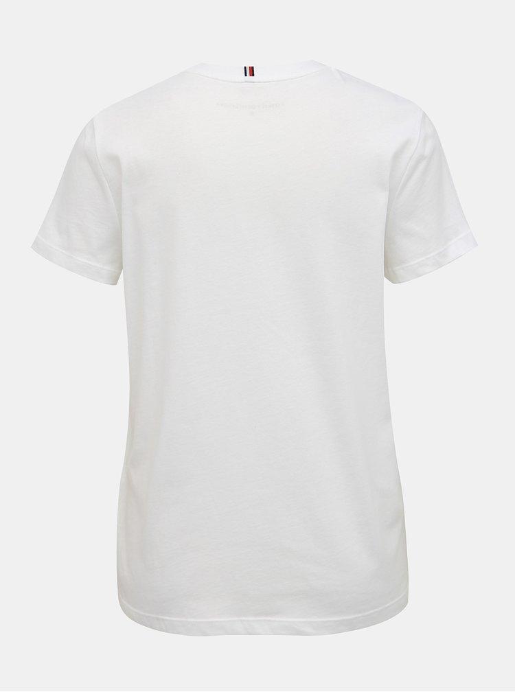 Biele dámske tričko s potlačou Tommy Hilfiger Heritage