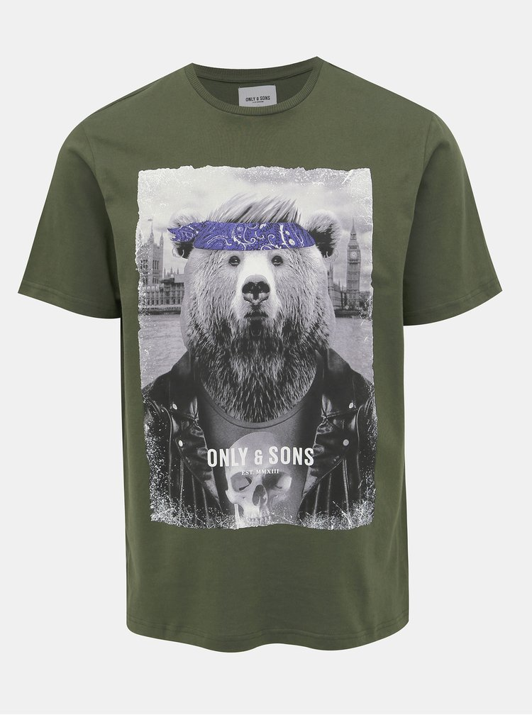 Khaki tričko s potiskem ONLY & SONS Modalu