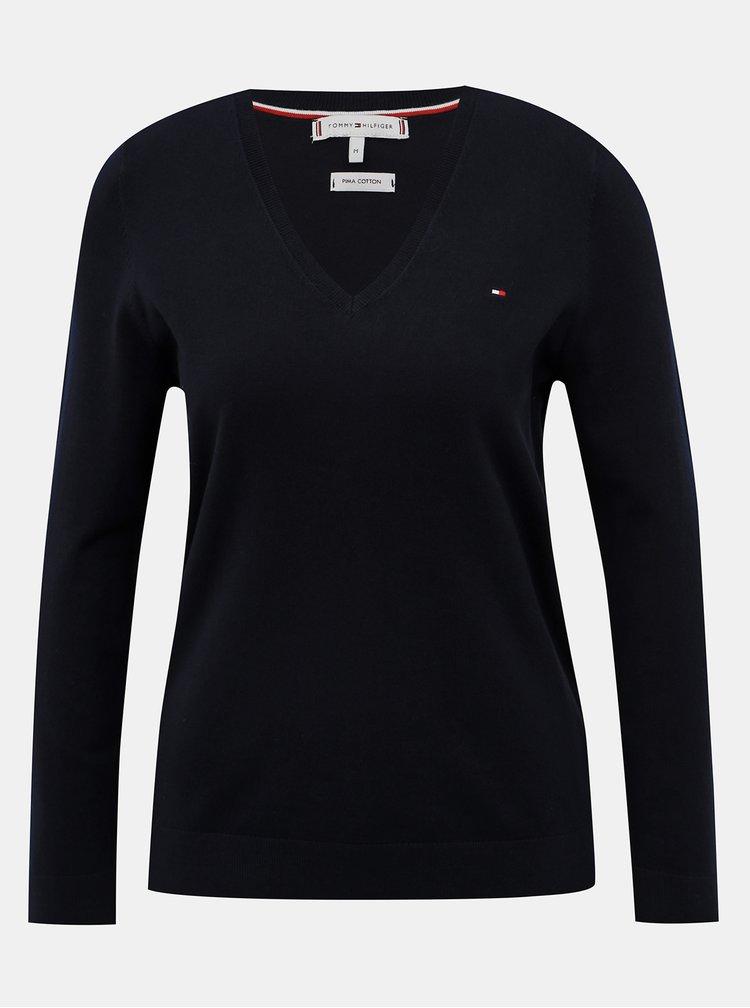 Tmavomodrý dámsky basic sveter Tommy Hilfiger Heritage