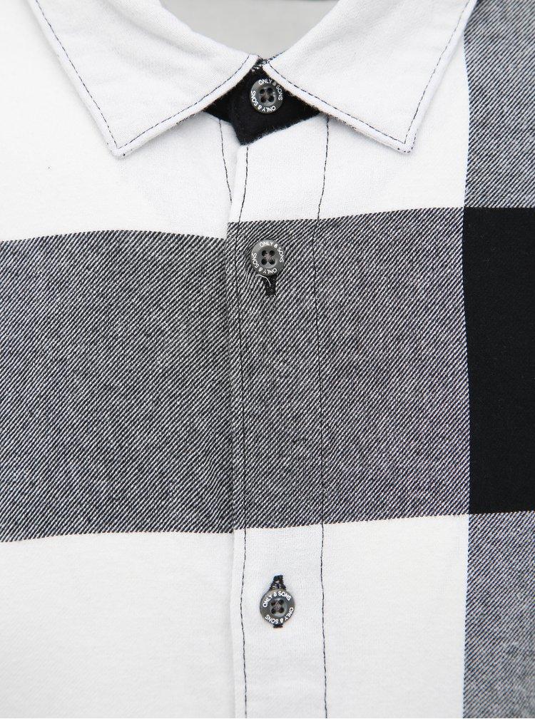 Čierno-biela kockovaná slim fit košeľa ONLY & SONS Freddy