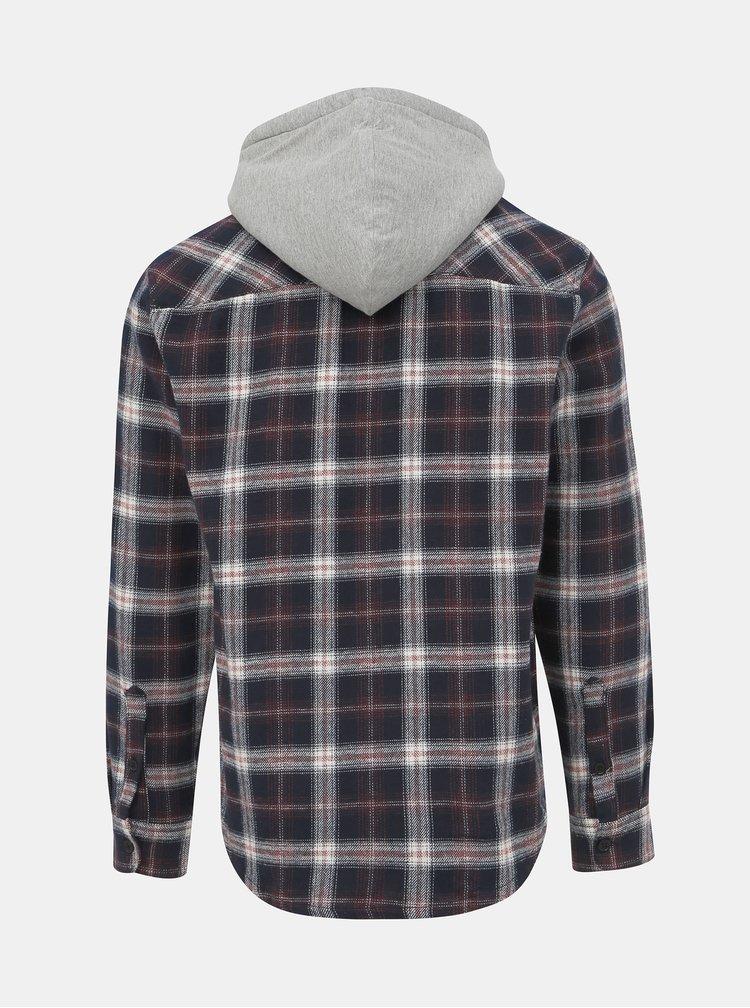 Tmavě modrá kostkovaná košile s kapucí ONLY & SONS Glen
