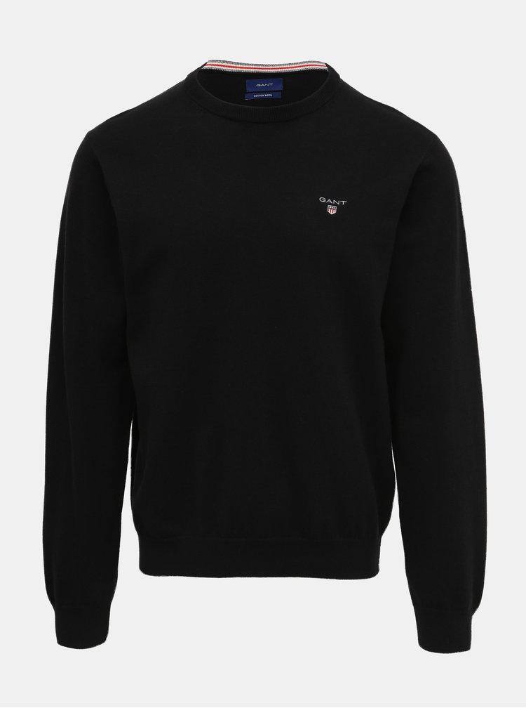 Čierny pánsky sveter s prímesou vlny GANT
