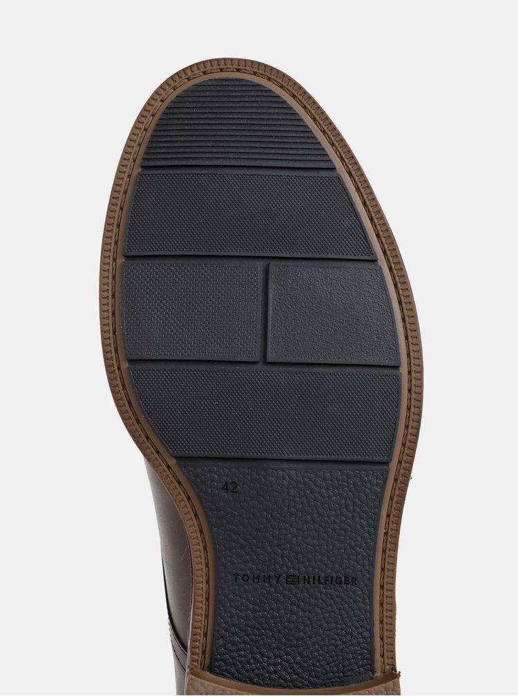 Hnedé pánske kožené polobotky Tommy Hilfiger