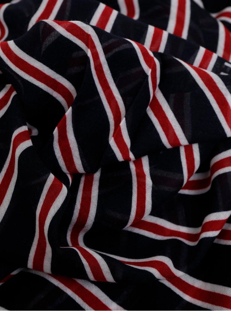 Červeno-modrý dámský pruhovaný šátek Tommy Hilfiger Regimental