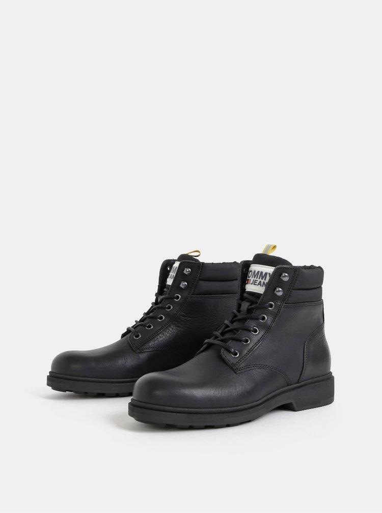 Čierne pánske kožené členkové topánky Tommy Hilfiger