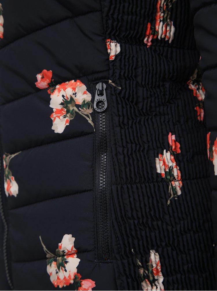 Tmavomodrá kvetovaná prešívaná zimná bunda Tom Joule Harrogate