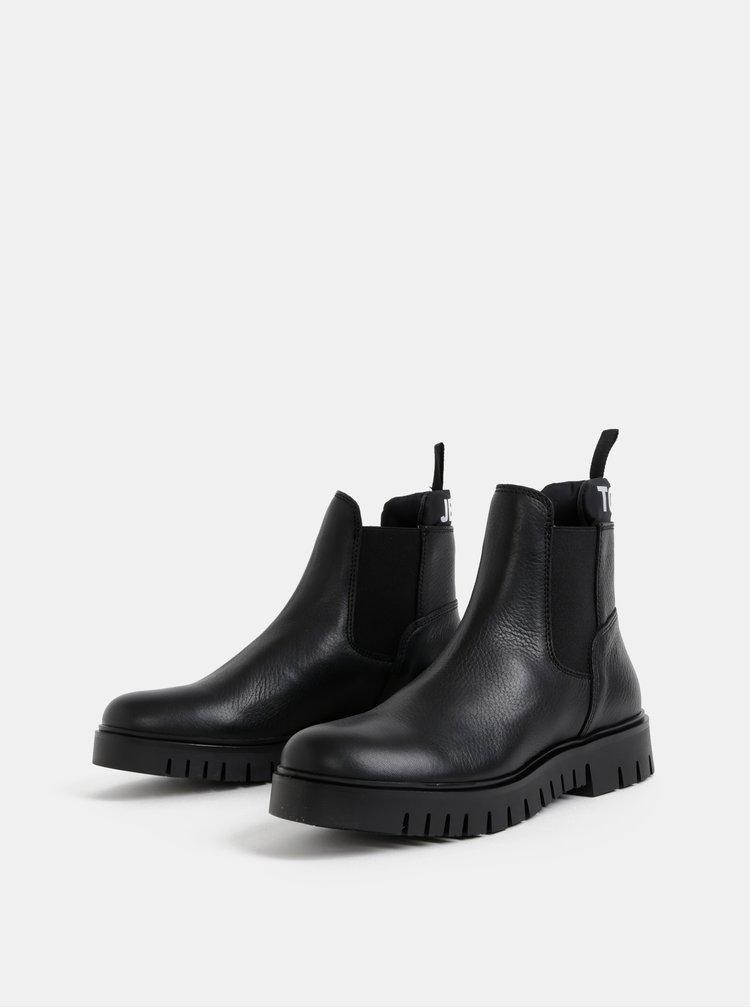 Černé dámské kožené chelsea boty Tommy Hilfiger