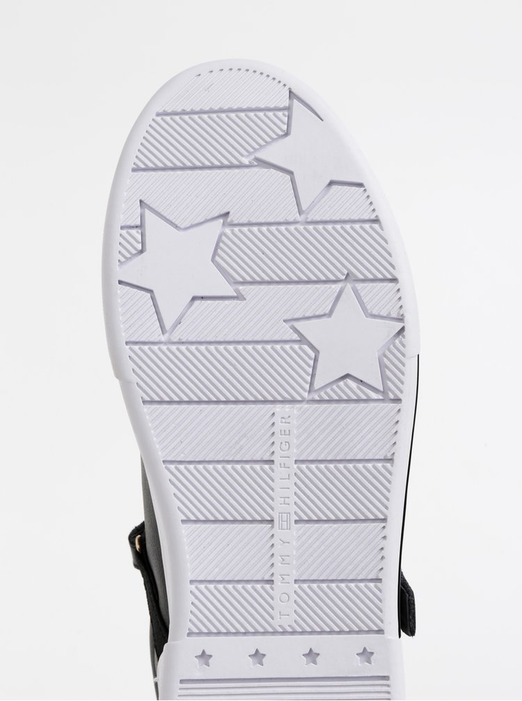 Černé dámské kožené tenisky Tommy Hilfiger Branded
