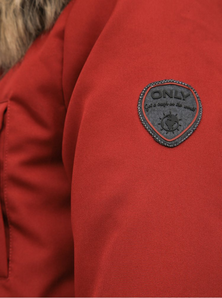 Červená zimná parka ONLY Liris