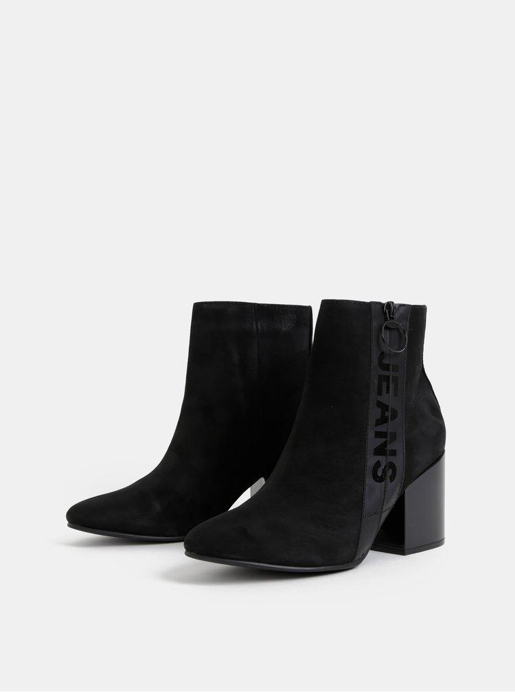 Čierne dámske semišové členkové topánky Tommy Hilfiger