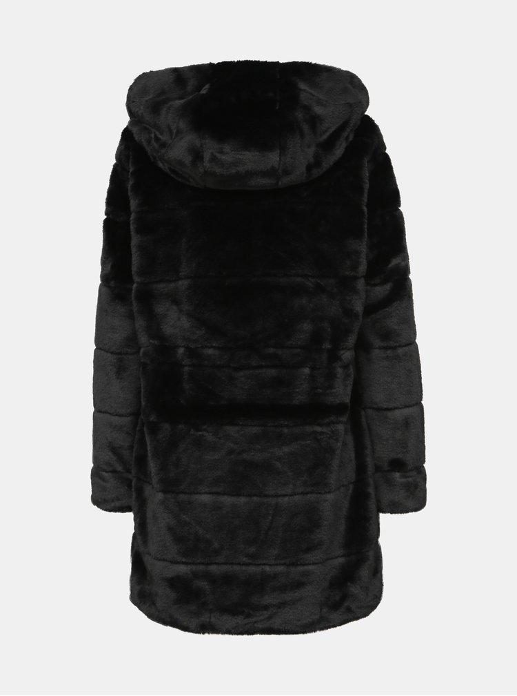 Černý kabát z umělé kožešiny ONLY Chris