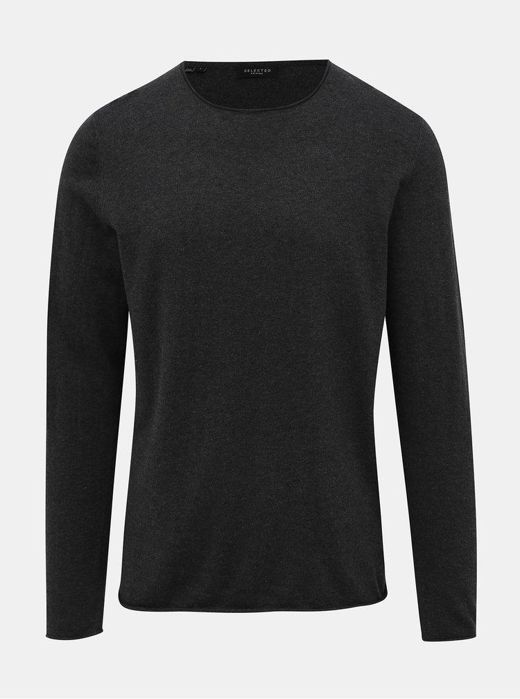 Tmavě šedé basic tričko s příměsí hedvábí Selected Homme Dome