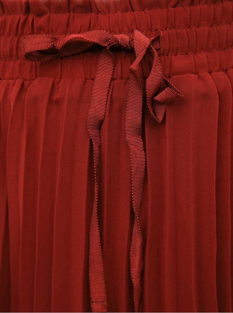 Vínová plisovaná midi sukně ONLY CARMAKOMA Sarah