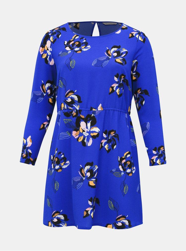Modré květované šaty ONLY CARMAKOMA Lux