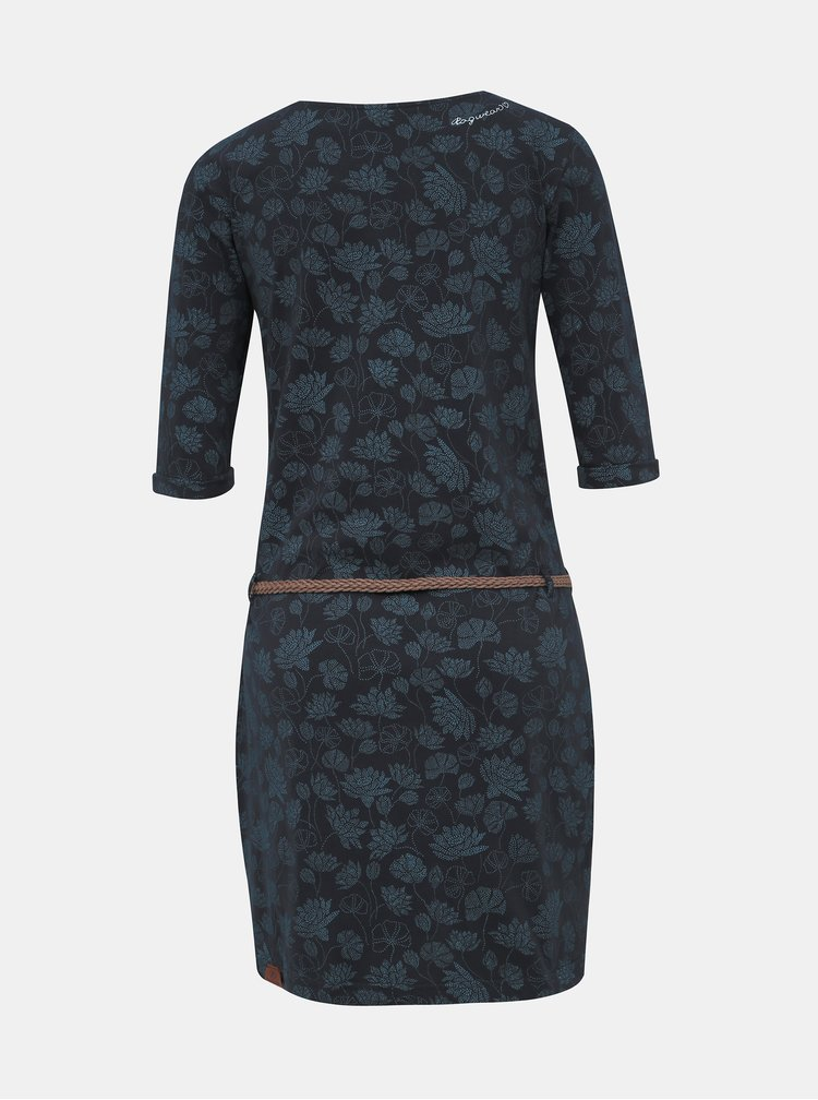Tmavomodré kvetované šaty Ragwear Tanya Flowers
