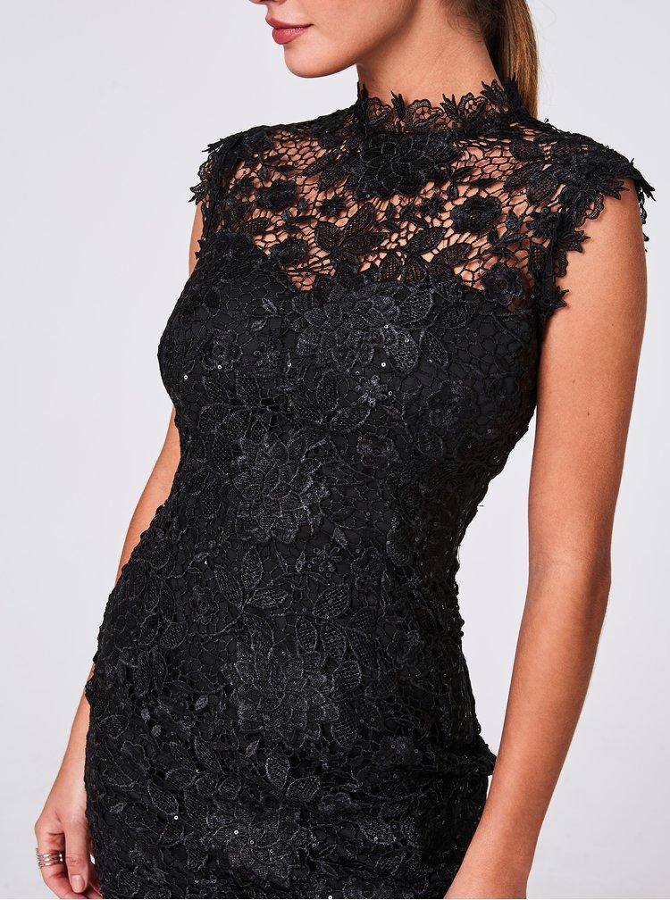 Čierne krajkové púzdrové šaty Paper Dolls