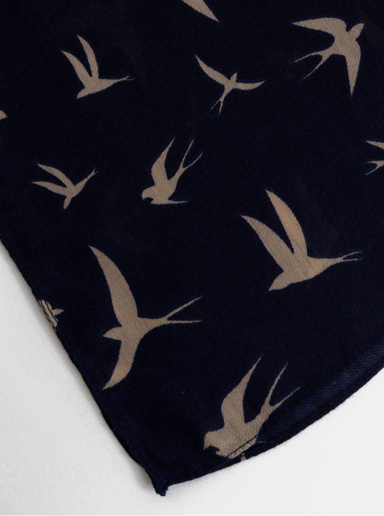 Tmavě modrý vzorovaný šátek Pieces Vonjana