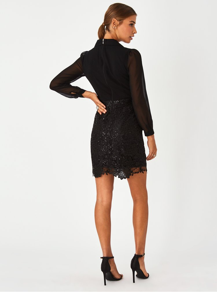 Čierne púzdrové šaty s krajkovou sukňou Paper Dolls