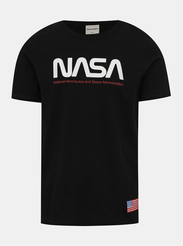 Čierne tričko s potlačou Jack & Jones Berkan NASA