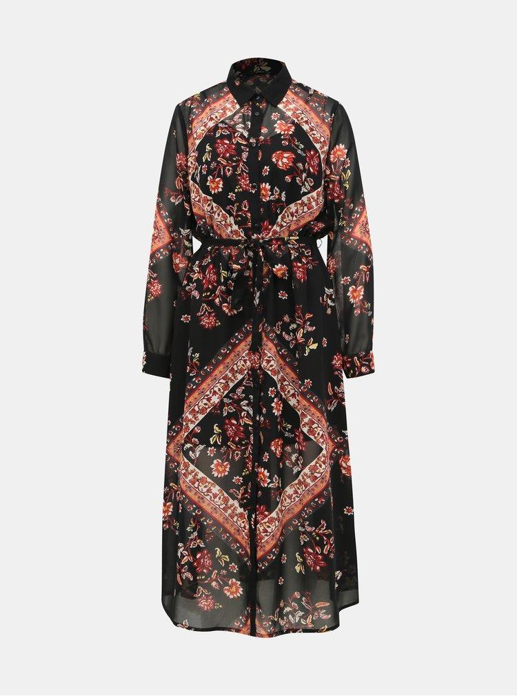Červeno-čierne kvetované košeľové midišaty ONLY Nina