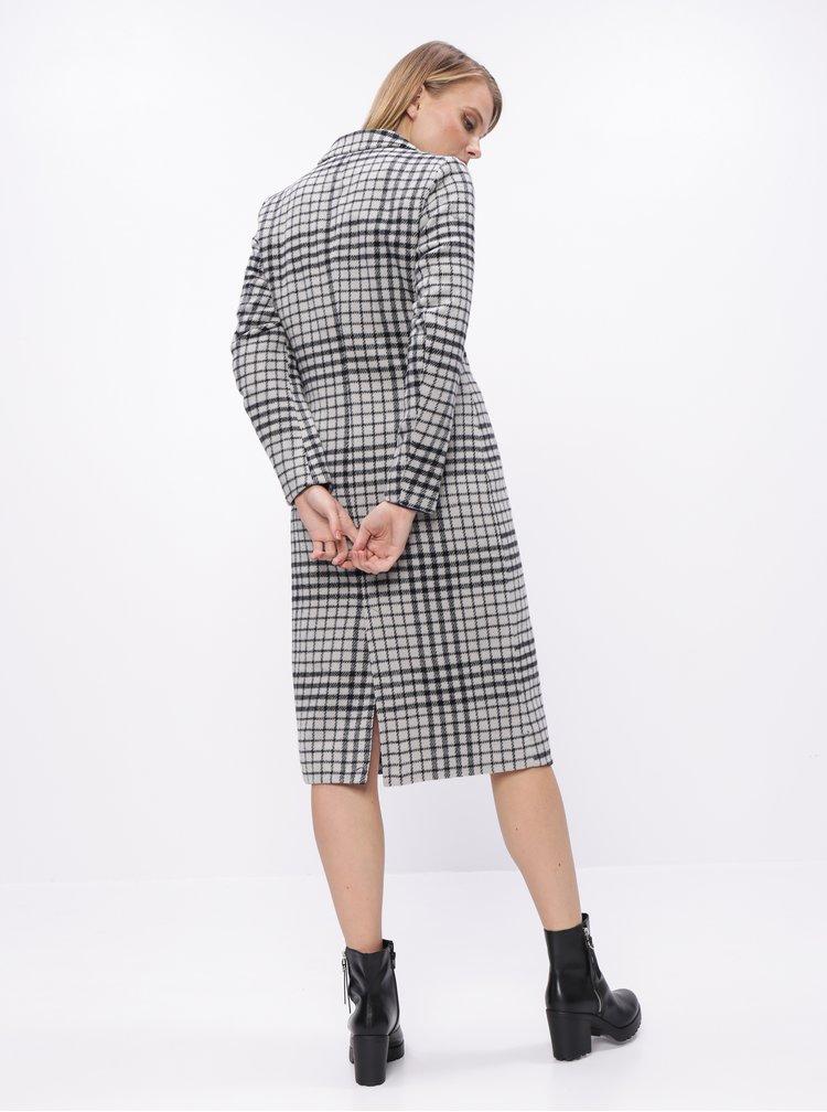 Světle šedý kostkovaný kabát s příměsí vlny ONLY Romina