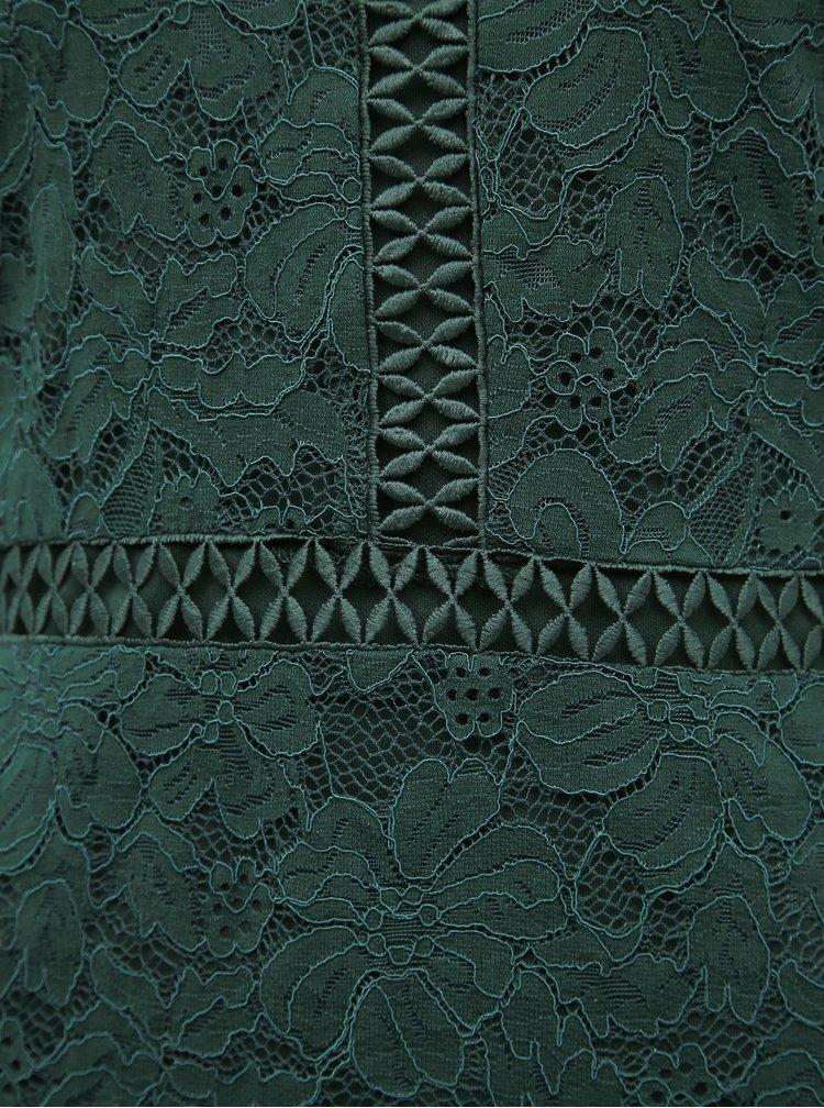Tmavě zelené krajkové šaty VILA Sirita