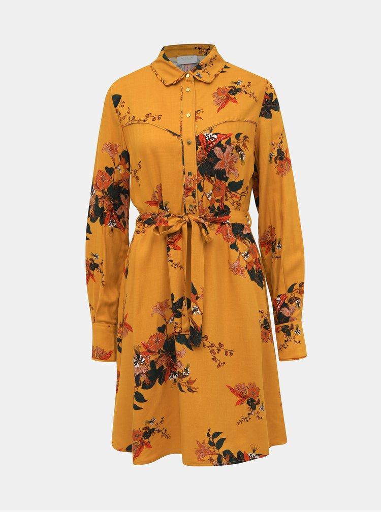 Oranžové kvetované košeľové šaty VILA Birdon Belisa