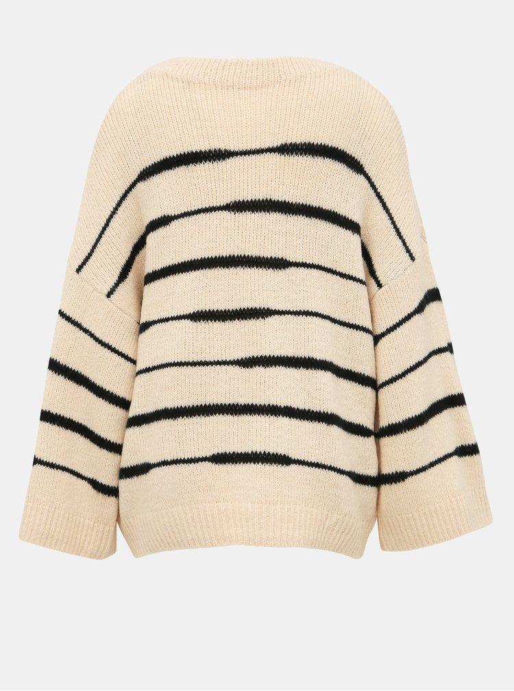 Béžový pruhovaný svetr s příměsí vlny VILA Ziggo
