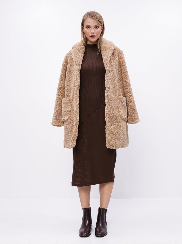 Svetlohnedý kabát z umelej kožušiny Dorothy Perkins