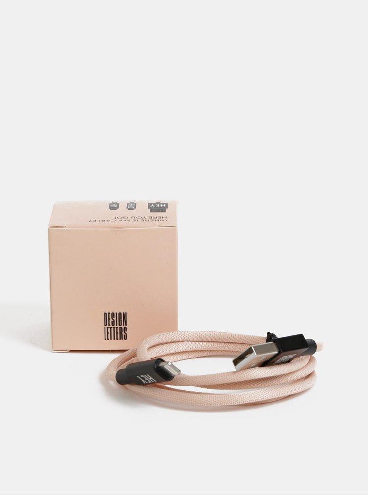 Růžový nabíjecí kabel na iPhone Design Letters 1 m