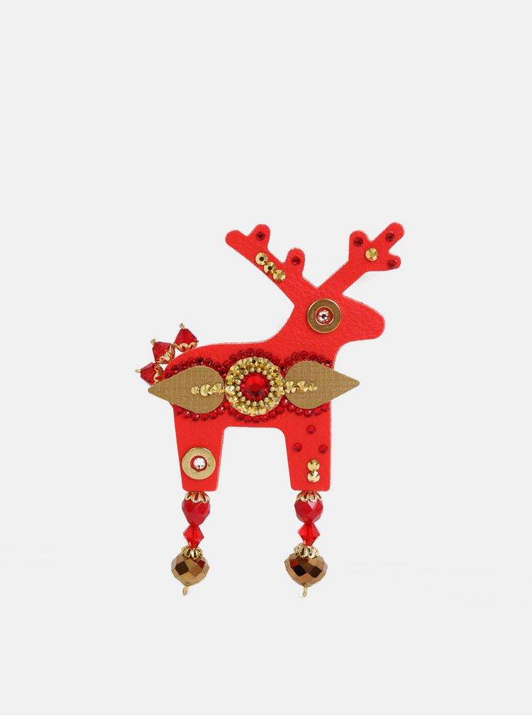 Červená veľká brošňa s kamienkami Preciosa Components Deers Reddien