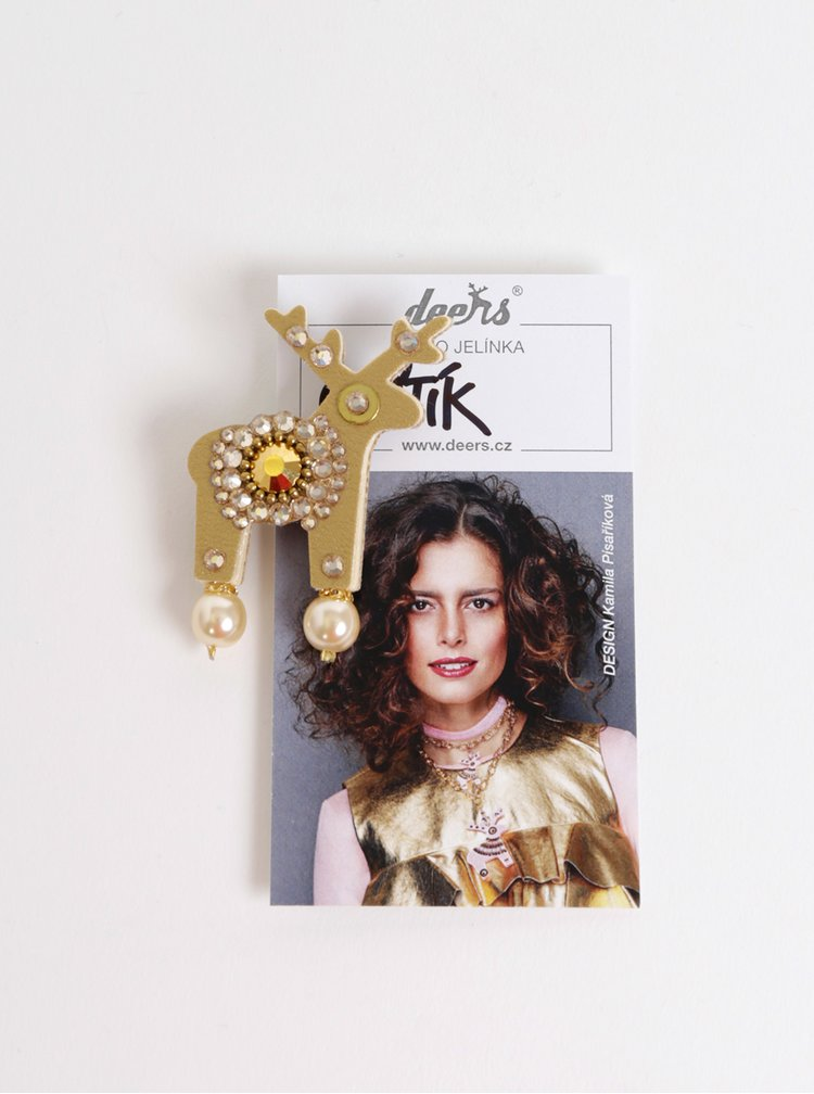 Malá brož ve zlaté barvě s kamínky Preciosa Components Deers Deštík