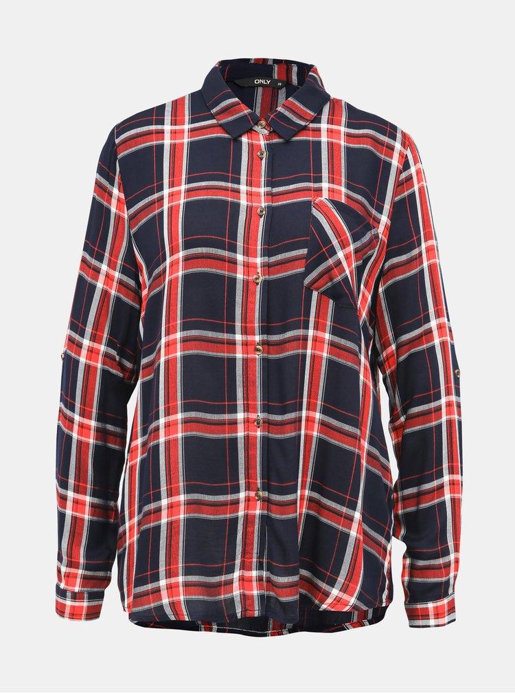 Červeno-modrá kostkovaná košile ONLY London